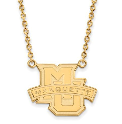Marquette University Sterling Silver Gold Plated Large Pendant Necklace | Logo Art | GP008MAR-18