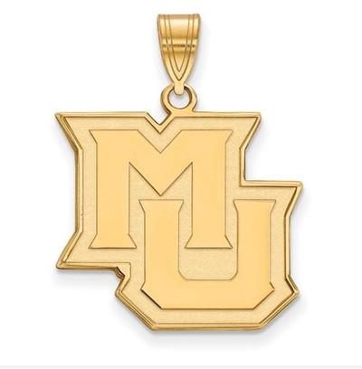 Marquette University Golden Eagles Sterling Silver Gold Plated Large Pendant | Logo Art | GP016MAR