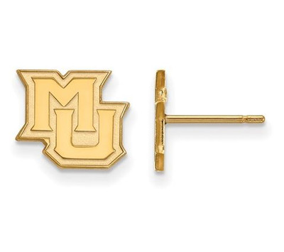 Marquette University Sterling Silver Gold Plated Extra Small Post Earrings | Logo Art | GP018MAR