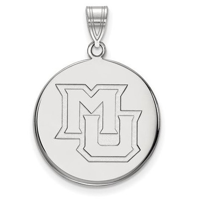 Marquette University 10k White Gold Large Disc Pendant | Logo Art | 1W024MAR