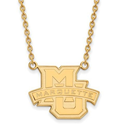 Marquette University 10k Yellow Gold Large Pendant Necklace | Logo Art | 1Y008MAR-18