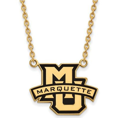 Marquette University Sterling Silver Gold Plated Large Enameled Pendant Necklace | Logo Art | GP030MAR-18