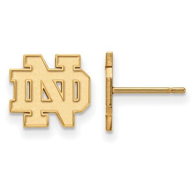 University of Notre Dame Gold Plated Sterling Silver Extra Small Post Earrings | Logo Art | GP008UND