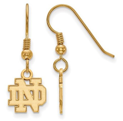 University of Notre Dame Gold Plated Sterling Silver Extra Small Wire Dangle Earrings | Logo Art | GP006UND