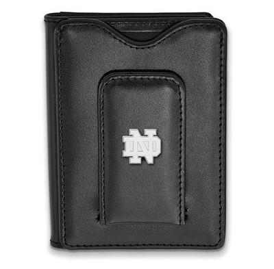 University of Notre Dame Sterling Silver Leather Money Clip Wallet   Logo Art   SS012UND-W1