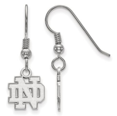 University of Notre Dame Sterling Silver Extra Small Wire Dangle Earrings | Logo Art |SS006UND