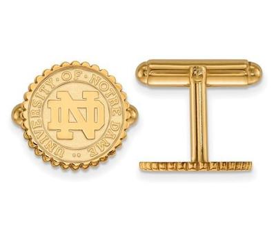 University of Notre Dame Gold Plated Sterling Silver Crest Cufflinks   Logo Art   SS044UND