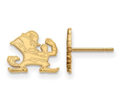 University of Notre Dame Fighting Irish Gold Plated Sterling Silver Extra Small Post Earrings   Logo Art   GP050UND
