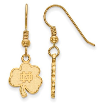 University of Notre Dame Gold Plated Sterling Silver Small Wire Dangle Earrings | Logo Art | GP064UND