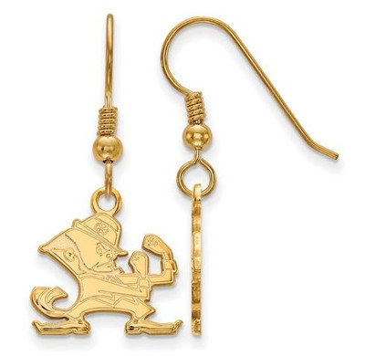 University of Notre Dame Gold Plated Sterling Silver Small Dangle Wire Earrings | Logo Art | SS065UND