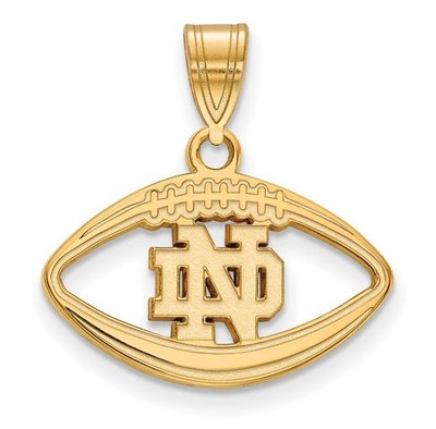 University of Notre Dame Gold Plated Sterling Silver Football Pendant | Logo Art | GP019UND