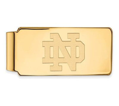 University of Notre Dame Gold Plated Sterling Silver Money Clip   Logo Art   SS024UND