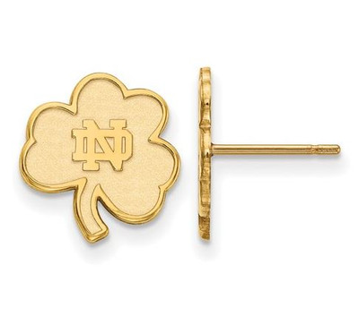 Notre Dame Fighting Irish Gold Plated Sterling Silver Extra Small Post Earrings | Logo Art | SS065UND