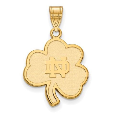 Notre Dame Fighting Irish Gold Plated Sterling Silver Large Pendant | Logo Art | GP063UND