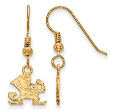 University of Notre Dame Gold Plated Sterling Silver Extra Small Dangle Wire Earrings | Logo Art | GP048UND