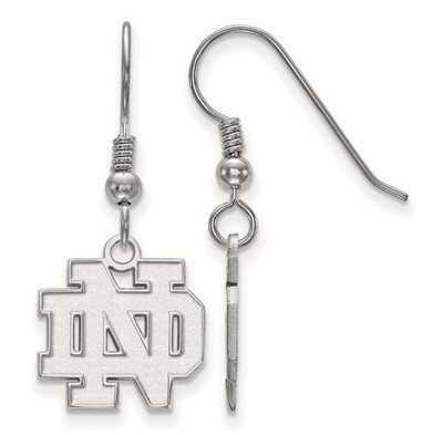 University of Notre Dame Fighting Irish Sterling Silver Small Wire Dangle Earrings | Logo Art | SS007UND
