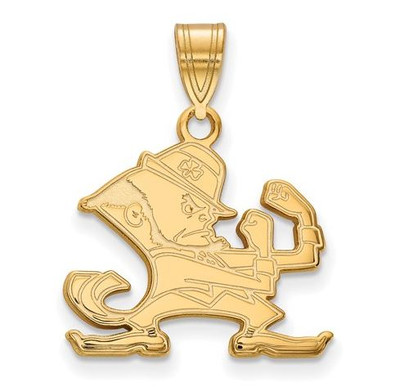 Notre Dame Fighting Irish Gold Plated Sterling Silver Medium Pendant | Logo Art | GP045UND