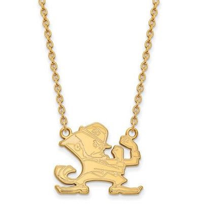 University of Notre Dame Fighting Irish Gold Plated Sterling Silver Large Pendant With Necklace | Logo Art | GP058UND-18