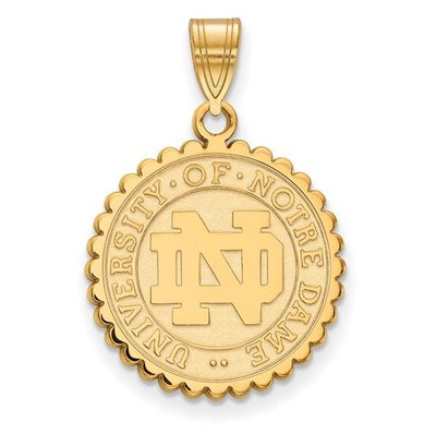 University of Notre Dame Gold Plated Sterling Silver Large Crest | Logo Art | GP067UND