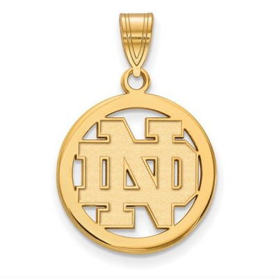 University of Notre Dame Gold Plated Sterling Silver Small Circle Pendant | Logo Art | GP031UND
