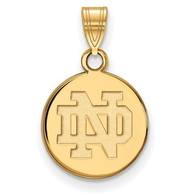 University of Notre Dame Gold Plated Sterling Silver Small Disc Pendant | Logo Art | GP035UND