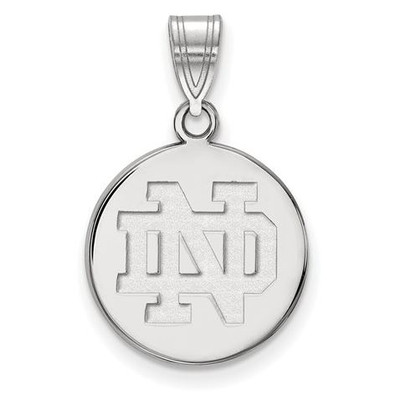 University of Notre Dame Sterling Silver Medium Disc Pendant | Logo Art | SS037UND