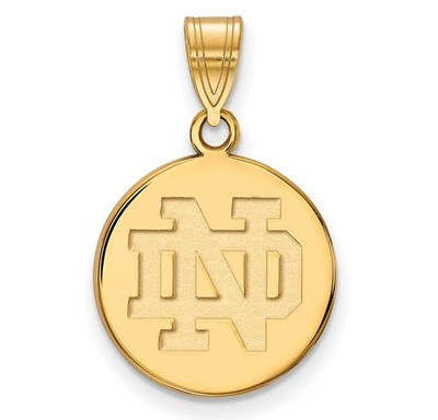 University of Notre Dame Gold Plated Sterling Silver Medium Disc Pendant | Logo Art | GP037UND