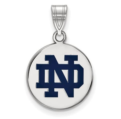 University of Notre Dame Sterling Silver Medium Enamel Disc Pendant | Logo Art | SS038UND