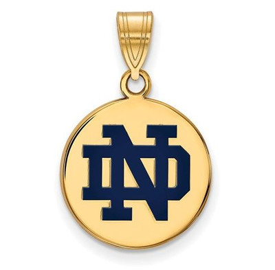 University of Notre Dame Gold Plated Sterling Silver Medium Enamel Disc Pendant | Logo Art | GP038UND