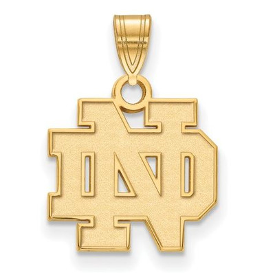 University of Notre Dame Fighting Irish Gold Plated Sterling Silver Small Pendant | Logo Art | GP002UND