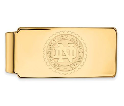 University of Notre Dame Gold Plated Sterling Silver Money Clip Crest | Logo Art | GP070UND