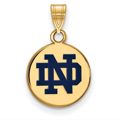 University of Notre Dame Gold Plated Sterling Silver Small Enamel Disc Pendant | Logo Art | SS044UND