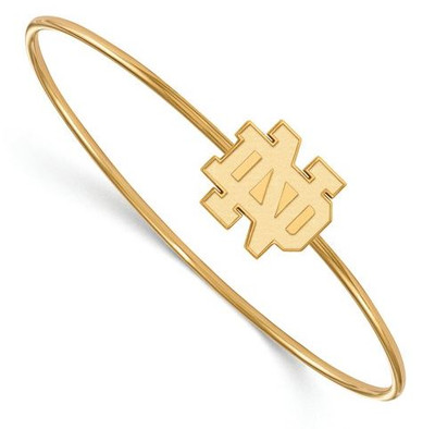 Notre Dame Fighting Irish Gold Plated Sterling Silver Bracelet | Logo Art | GP014UND-7