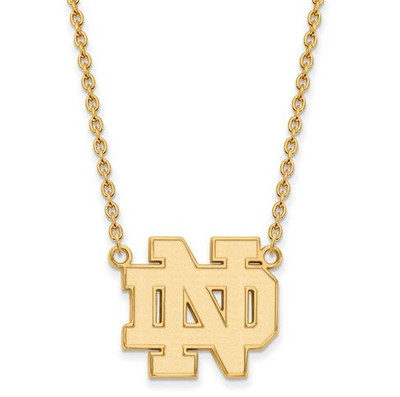 Notre Dame Fighting Irish Gold Plated Sterling Silver Large Pendant With Necklace | Logo Art | GP016UND-18