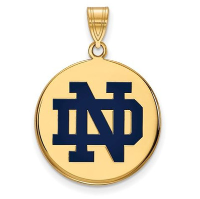 University of Notre Dame Gold Plated Sterling Silver Large Enamel Disc Pendant | Logo Art | GP040UND
