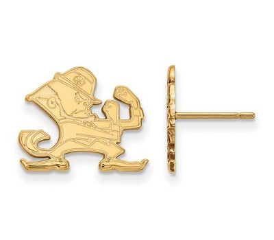 University of Notre Dame Gold Plated Sterling Silver Small Post Earrings | Logo Art | GP051UND