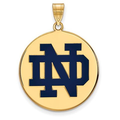 University of Notre Dame Gold Plated Sterling Silver Extra Large Enamel Disc Pendant | Logo Art | GP042UND