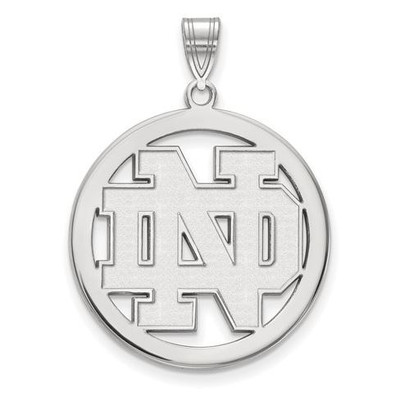 University of Notre Dame Sterling Silver Large Circle Pendant | Logo Art | SS032UND