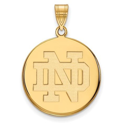 University of Notre Dame Gold Plated Sterling Silver Large Disc Pendant | Logo Art | GP039UND