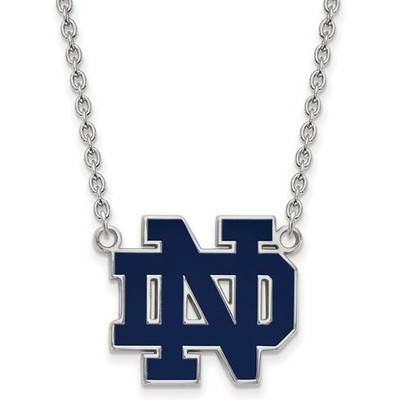 Notre Dame Fighting Irish Sterling Silver Large Pendant Necklace | Logo Art | SS017UND-18