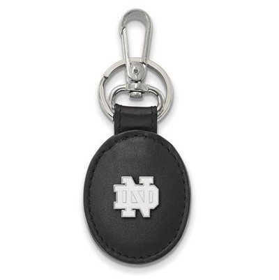University of Notre Dame Sterling Silver Leather Key Chain | Logo Art | SS013UND-K1