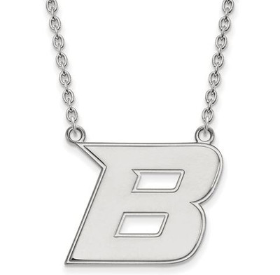 Boise State University 14k White Gold Large Pendant Necklace | Logo Art | 4W008BOS-18