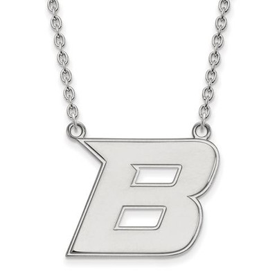 Boise State University 10k White Gold Large Pendant Necklace | Logo Art | 1W008BOS-18