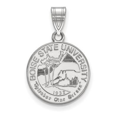 Boise State University Sterling Silver Medium Crest Pendant | Logo Art | SS007BOS