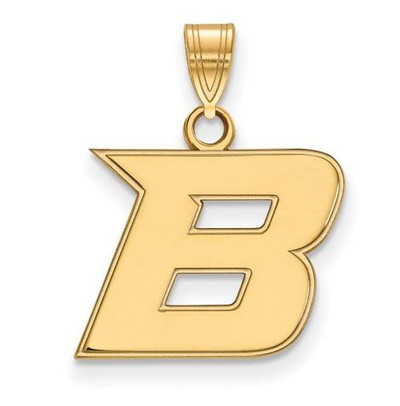 Boise State Broncos Sterling Silver Gold Plated Small Pendant | Logo Art | GP005BOS