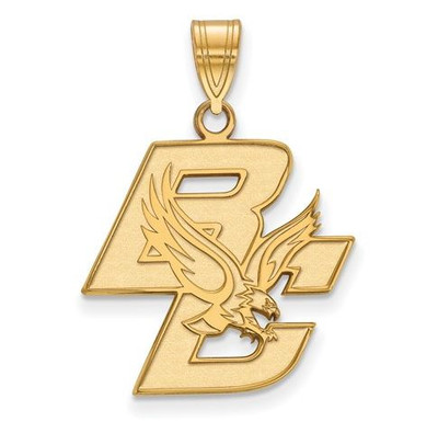 Boston College Sterling Silver Gold Plated Large Pendant | Logo Art | GP002BOC