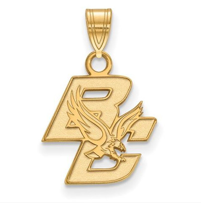 Boston College Sterling Silver Gold Plated Small Pendant | Logo Art | GP001BOC