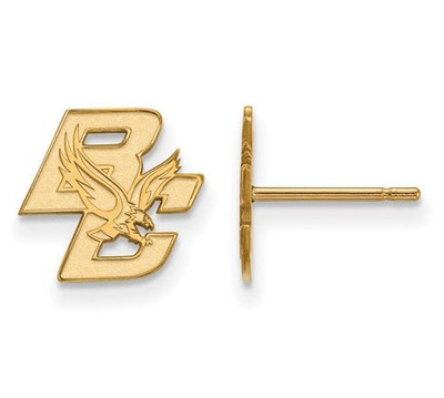 Boston College Gold Plated Sterling Silver Extra Small Post Earrings | Logo Art | GP016BOC