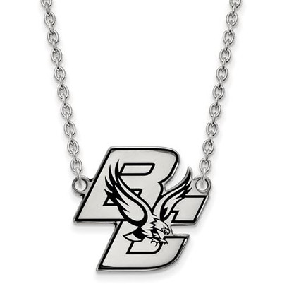 Boston College Sterling Silver Large Enameled Pendant Necklace | Logo Art | SS010BOC-18