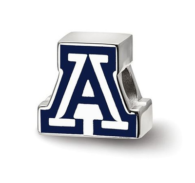 University of Arizona Sterling Silver Block A Enameled Logo Bead | Logo Art | SS500UAZ